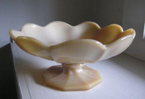 "McKee 12"" EAPG Custard Caramel Glass Footed Pedestal Fruit Bowl Compote Lotus"