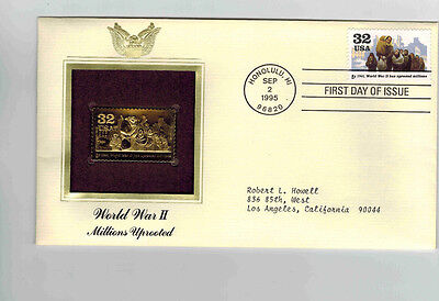 22KT Gold Replica FDC 1995  WWII Honolulu HI millions uprooted addressed