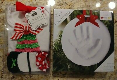Mud Pie 2pc Set 0-6m Christmas Tree Crawler Socks PLUS Koala Baby Handprint - Handprint Christmas Tree