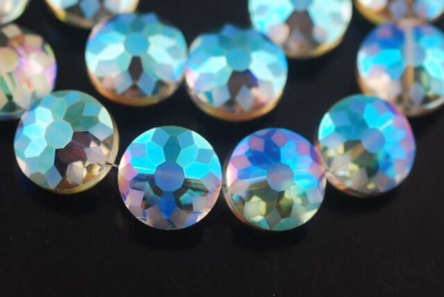5pcs 14mm Round Discoid Faceted Crystal Glass Dull Polish Beads Colorized Green