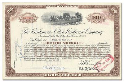 - Baltimore and Ohio Railroad Company Stock Certificate