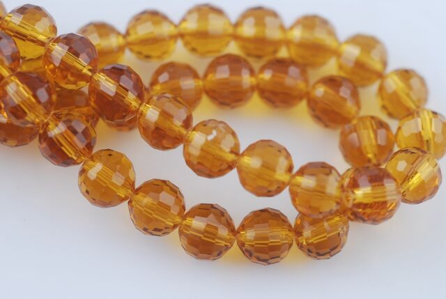 30pcs 8mm 96Facet Round Faceted Ball Crystal Glass Loose Beads Smoked Topaz