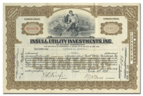 Insull Utility Investments, Inc. Stock Certificate
