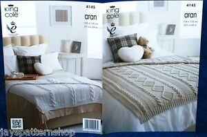 Aran Knit Throw Blanket 2 Designs Knitting Pattern 53 x 60 Inch