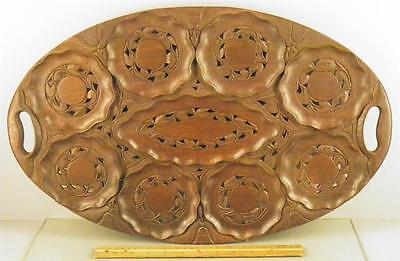 VINTAGE  LARGE HAND CARVED SERVING HANDLED TRAY TEAK WOOD FLORAL