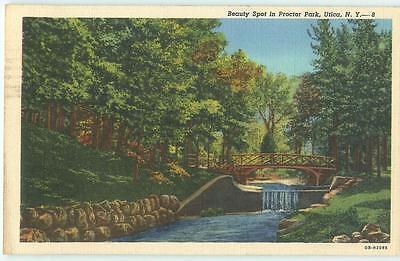 Utica New York Proctor Park Falls Bridge 1947 Linen Antique Postcard 24787