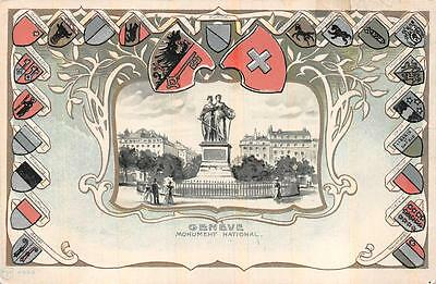 Switzerland Geneve Monument (GENEVE NATIONAL MONUMENT SWITZERLAND COAT OF ARMS EMBOSSED POSTCARD (c.)