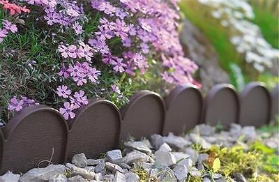 Garden Plastic Fence Lawn Palisade Boarder Patio Fence Edge Fencing IKRA BROWN