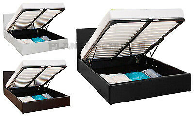 PRADO OTTOMAN GAS LIFT STORAGE FAUX LEATHER BED FRAME - BLACK, BROWN, WHITE