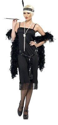 Damen Feurig Schwarz 1920er Jahre Flapper Kostüm Kleid Outfit 8-22 - Übergröße Schwarz Flapper Kostüm