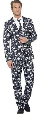 Herren Skelett Totenkopf Anzug mit Krawatte Halloween Gothik Kostüm Kleid Outfit (Halloween Kostüm Kleid Anzug)