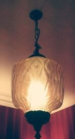Antique Pendant Light glass and metal. Great condition. Old