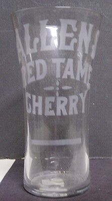 1910's Allens Red Tame Cherry Etched Soda Fountain Glass