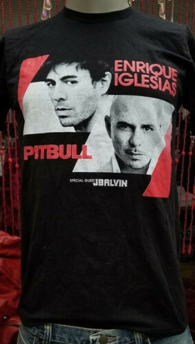 Enrique Iglesias Pitbull Tour 2015 JBALVIN Black T-Shirt Size Medium