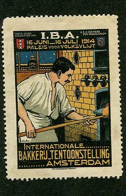Poster Stamp Label BAKER EXHIBITION AMSTERDAM  1914 IBA Bakkeru COLOR