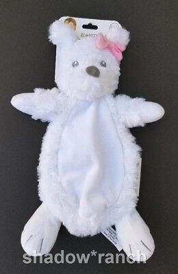 NWT Blankets & Beyond White Puppy Dog Security Nunu Pink Bow Baby Plush Lovey