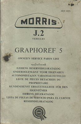 MORRIS J2 VAN & MINI BUS ORIGINAL 1960 OWNERS SERVICE PARTS CATALOGUE