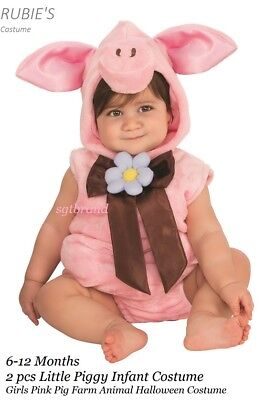 Infant Girl Little Piggy Plush Costume 2 pc Pink Pig Farm Animal  6-12 months ](Little Piggy Costume)