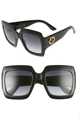 New Authentic GUCCI Square-Frame Sunglasses Black 54mm GG0053S