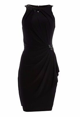 JS Collections Jersey Dress Beaded Halter Neck Black Size 12 RRP £160 box55 03 E
