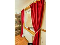 Vibrant Red Lined Curtains *PROVISIONALLY SOLD*