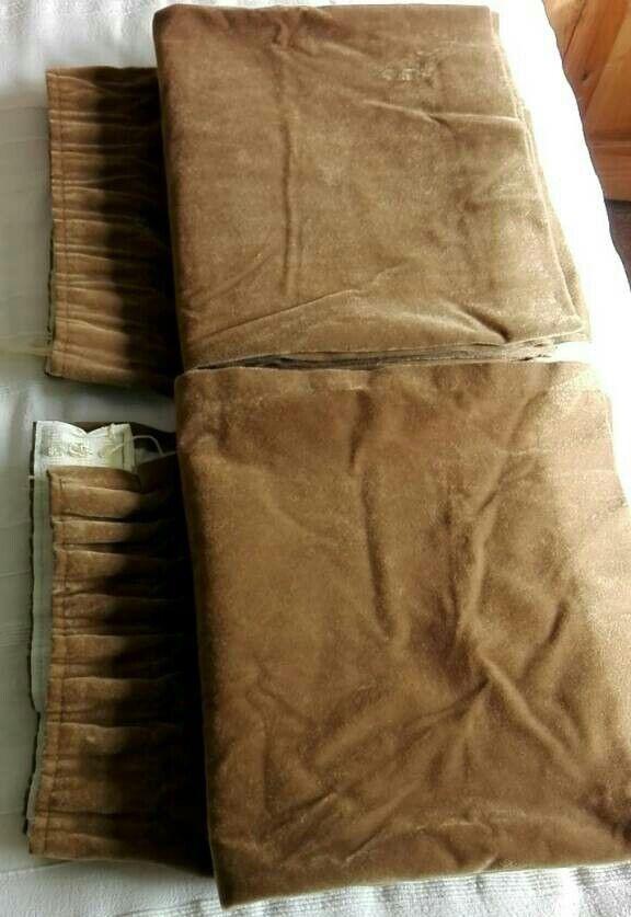 One Pair Brown Velvet Curtains, Lined 183cm X 163cm