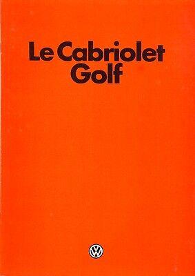 Volkswagen Golf Mk 1 Cabriolet sales brochure French market 1982