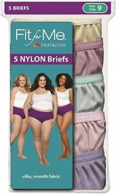 Fit for Me® by Fruit of the Loom® Women's  Briefs 5-Pack 100% Nylon 5DN204P NEW!
