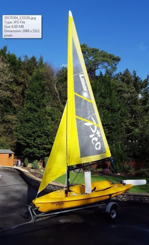 Laser Pico Sailing Dinghy With Trolley And Trailer In