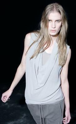 Ilaria Nistri Silk Crepe & Jersey Layered Sleeveless Top Taupe Mushroom Medium M