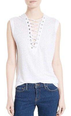 $228 IRO White 'Tissa' Linen Lace-up Sleeveless Tank/Top Blouse Size M Current