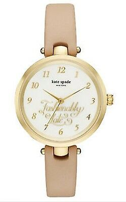 Kate Spade Ladies MOP Gold Tone Holland With Beige Leather Band Watch KSW1220