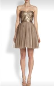 Aidan Mattox faux leather bodice and tulle dress