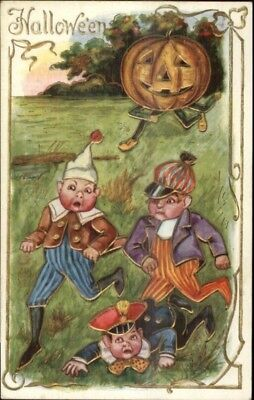 Halloween - Children Run From JOL Man c1910 Postcard EXC COND - Halloween Running Man