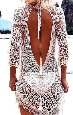 Häkel Sommerkleid in weiß rückenfrei Strandkleid im Boho Hippie Ibiza Style
