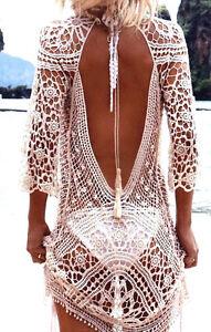 Ibiza Häkel Sommerkleid Gr. M beige Strandkleid im Boho Hippie bohemian