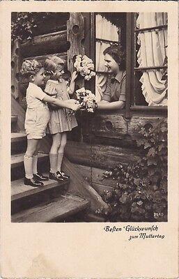 uralte AK, Besten Glückwunsch zum Muttertag Blumen Kinder Mama