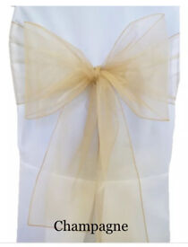 FOR SALE - BRAND NEW - 40 CHAMPAGNE / PALE GOLD Organza Chair Sashes. Sashes