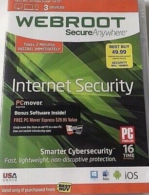 Webroot Secure Anywhere Antivirus Internet Security 2020 3Pcs 6 month EDelivery