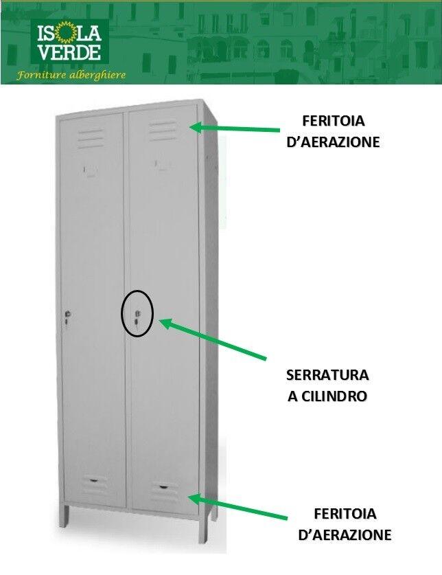 ARMADIO ARMADIETTO SPOGLIATOIO SALVASPAZIO 2 POSTI 68x34xH180 METALLO Sp.7/10