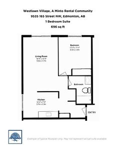 One Bedroom Suites WestLawn Village for Rent - 9535 165... Edmonton Edmonton Area image 18