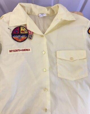 Boy Scouts Official Den Mothers Yellow Uniform Shirt Size 10 Short Sleeve