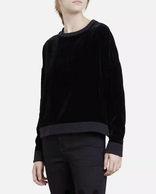 NWT Womens Kenneth Cole Black Crushed Velvet Pullover Sweatshirt Sz L Large