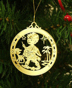 Personalized Little Drummer Boy High Polished Brass Christmas Ornament Custom