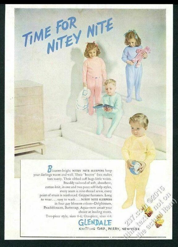 1947 Glendale Knitting Nitey Nite sleeper boy girl photo vintage fashion ad