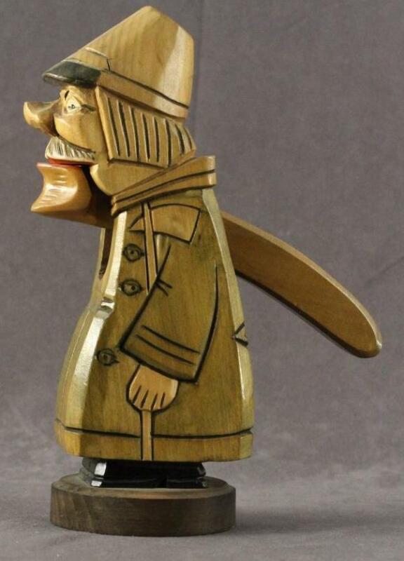 Vintage Folk Art Black Forest German Hand Carved Wood Nutcracker Night Watchman