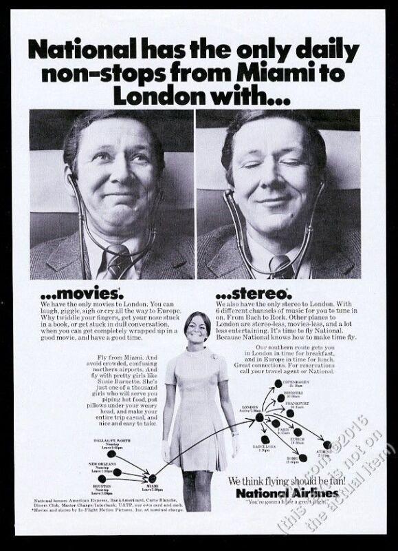 1971 National Airlines stewardess photo vintage print ad