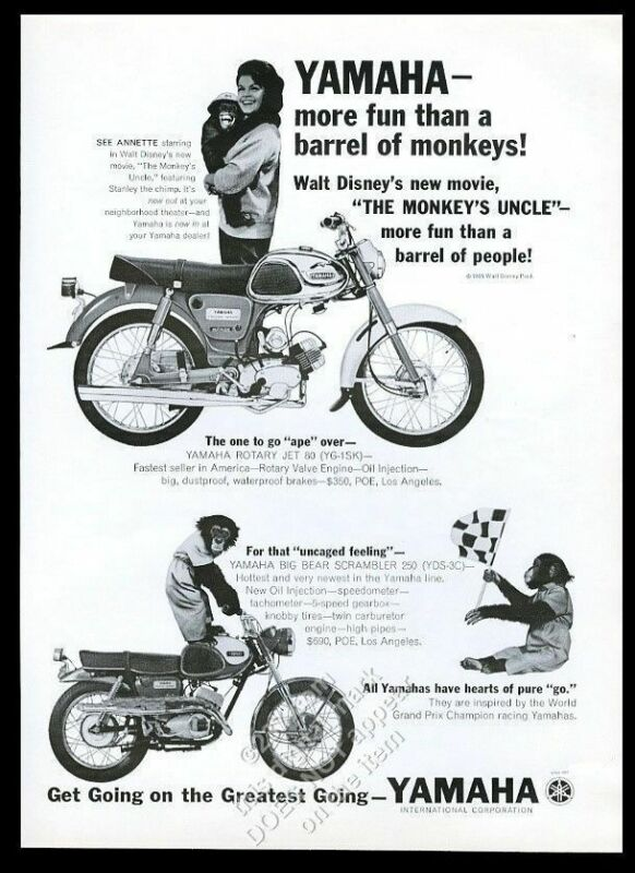 1965 Annette Funicello photo & Disney chimp Yamaha motorcycle vintage print ad