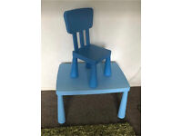 Blue Ikea Mammut table chair boy Kids Child toddler bedroom Family Parent