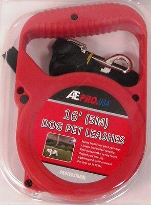 (Pet Leash Dog Leash 16' feet foot (5m) Adjustable Lenth Stop/Release lever-Red)